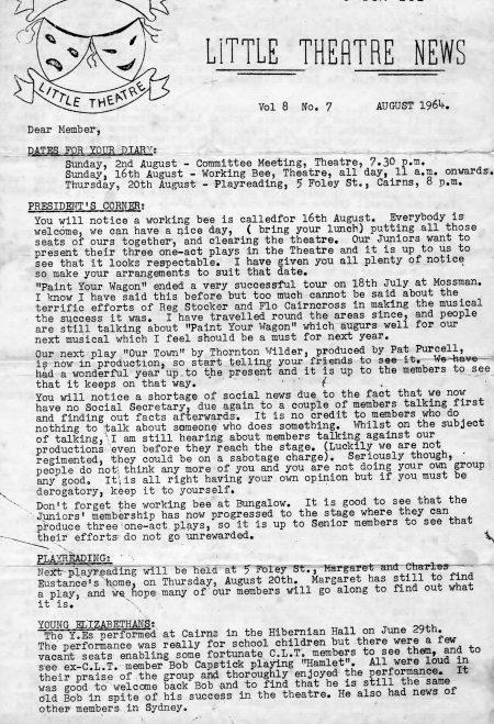 Cairns Little Theatre News-sheet 1964.
