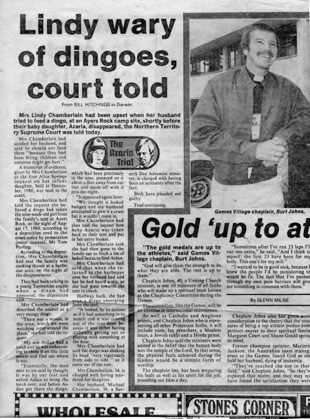 Dingo Trial; Burt/Glenn Milne (Wednesday, Sept 22, 1982)
