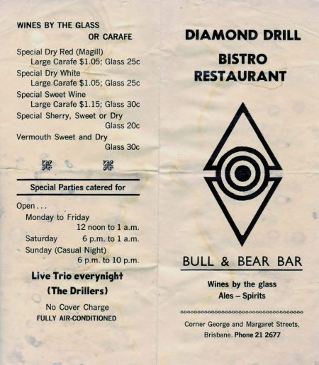 Bill Of Fare, Diamond Drill Bistro, circa Adam Darius tour.