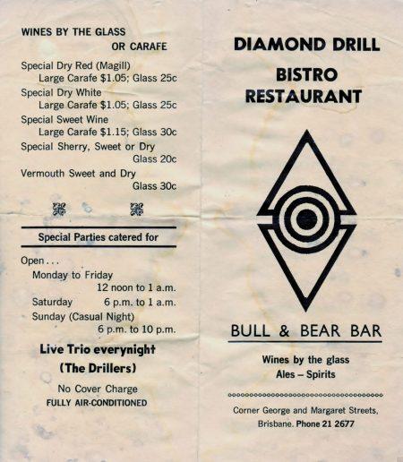 Bill Of Fare, Diamond Drill Bistro, circa Adam Darius tour.
