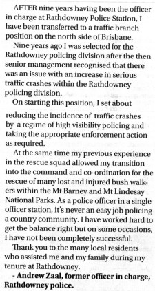 Rathdowney cop reaction to his removal.BT 28/10/2015.