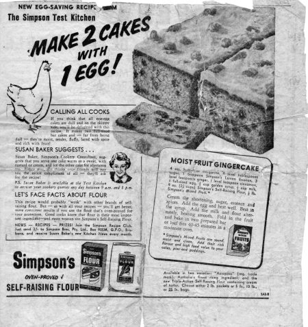 V old newspaper (Two cakes with one egg)
