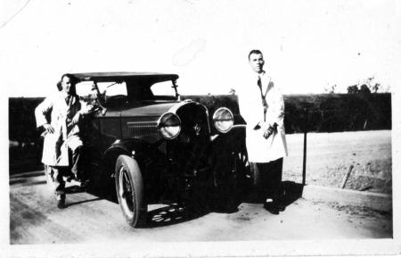 My Dad and friend on epic motoring tour, early thirties, would guess.