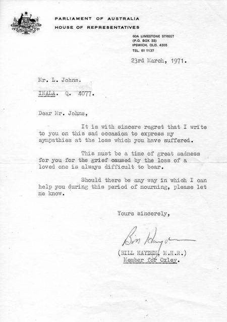 Bill Hayden Mum condolence letter.