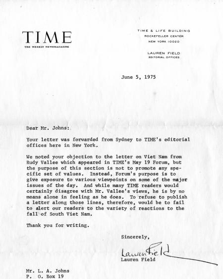 """TIME"" mag reply to 1975 letter."